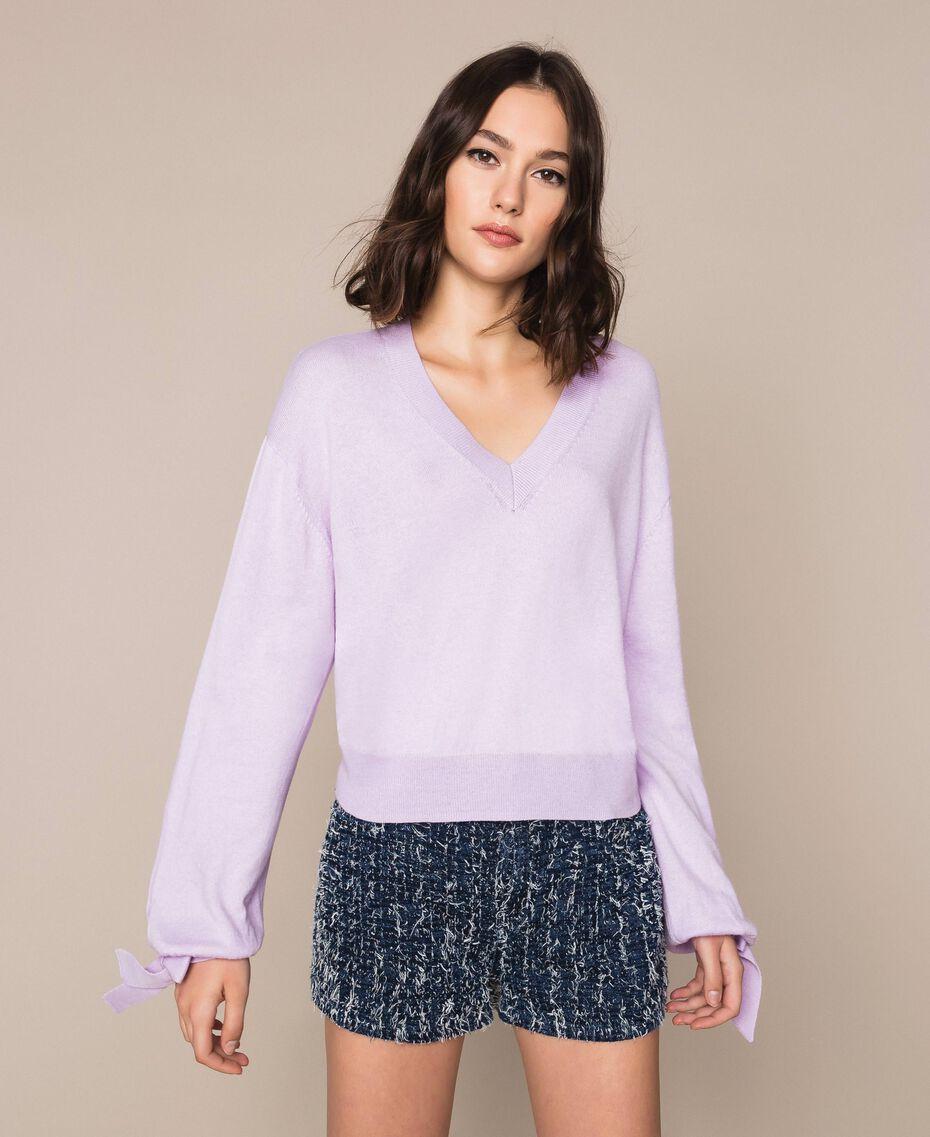 "Cashmere blend boxy jumper ""Ballerina"" Purple Woman 201TP3011-01"
