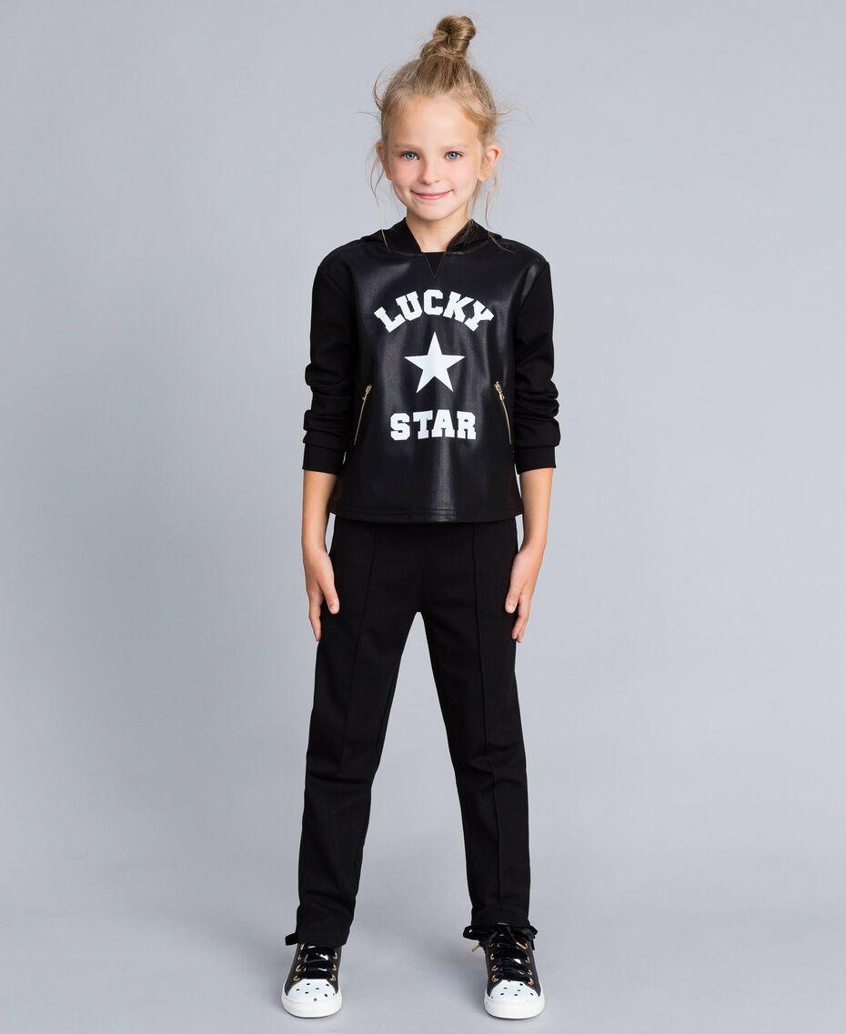 Pantalon en point de Milan Noir Enfant GA82F1-0S