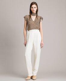 Pantalon à coupe cigarette en lin mélangé Blanc Neige Femme 191TP2201-01
