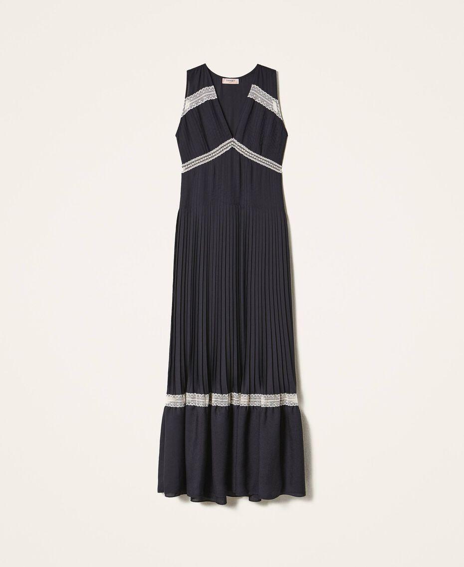 Длинное плиссированное платье с кружевом Черный женщина 202TP2133-0S