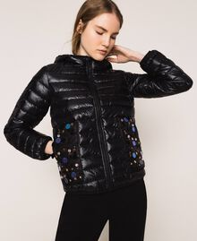 Ultralight puffer jacket with sequins Black Woman 201ST2120-01