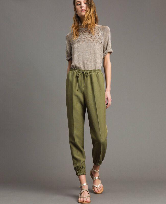 "Pantalon de jogging en lin Vert ""Olive"" Femme 191TT230B-01"