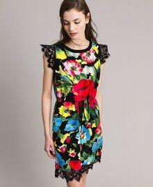 Patterned knit dress Macro Flower Black Print Woman 191TT3180-01