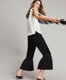 """Блуза с поясом с бахромой Двухцветный Белый """"Снег"""" / Черный женщина 191TT2384-01"""