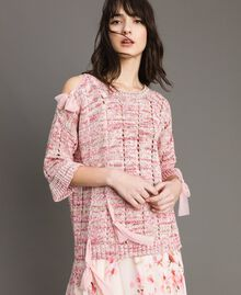 Openwork top with ribbons Multicolour Pink Pattern Woman 191TP3281-01