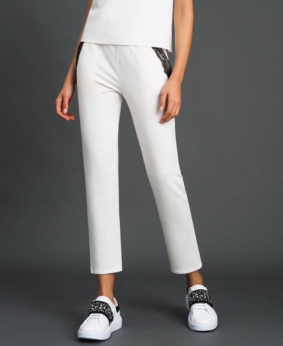 Pantaloni con tulle e pizzo Avorio Donna 192LL2CDD-01