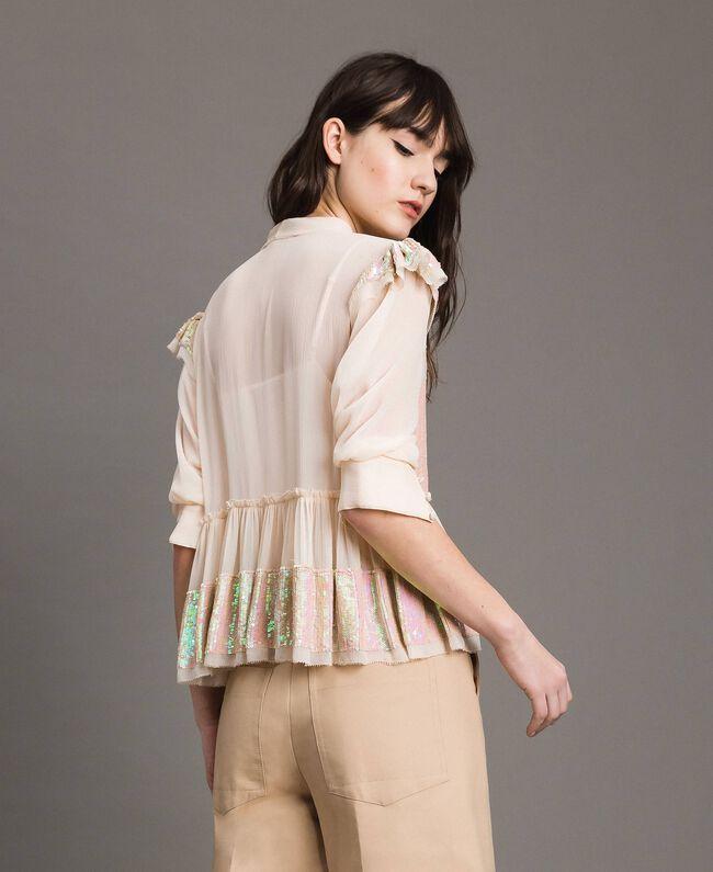 Georgette-Bluse mit Pailletten Blütenknospenrosa Frau 191TP2582-03