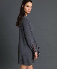 Robe en maille avec dentelle Gris foncé chiné Femme 192LI31AA-02
