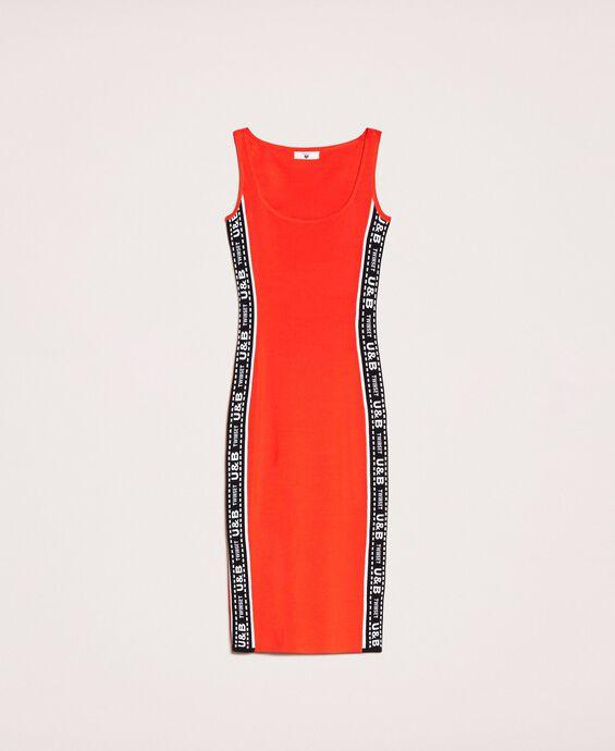 Sheath dress with logo side bands