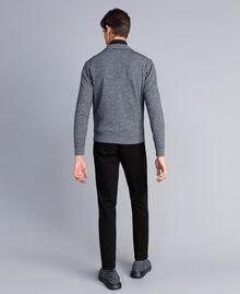 Cardigan aus Baumwolle und Wolle mit Reißverschluss Zweifarbig Mattweiß / Schwarz Mann UA83BA-03