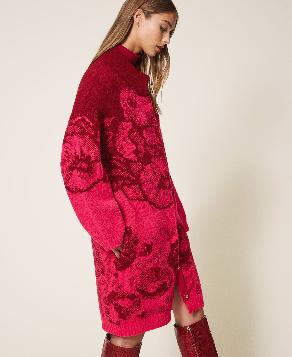 Floral jacquard knit coat Shocking Pink / Cherry Red Jacquard Woman 202TP340A-02