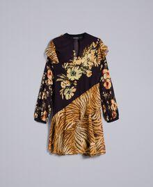 Короткое платье с комбинацией принтов Набивной Комбинированный Цветочный&Тигровый женщина TA825C-0S