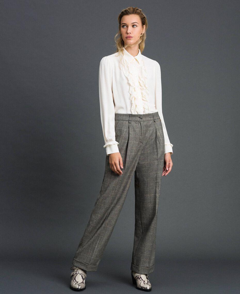 Pantaloni wide leg in principe di Galles Disegno Galles Grigio Scuro Lurex Donna 192TT244A-02