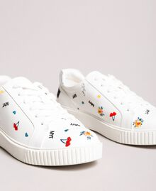 Faux leather sneakers with logo White Cream Woman 191MCP080-02