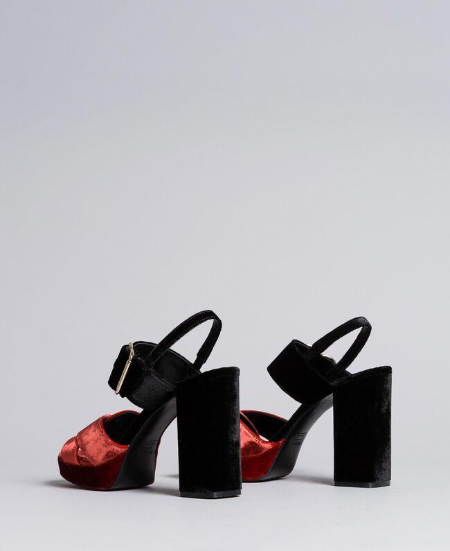 Sandales compensées en velours bicolore Bicolore Noir / Orange Brûlée Femme CA8THG-03
