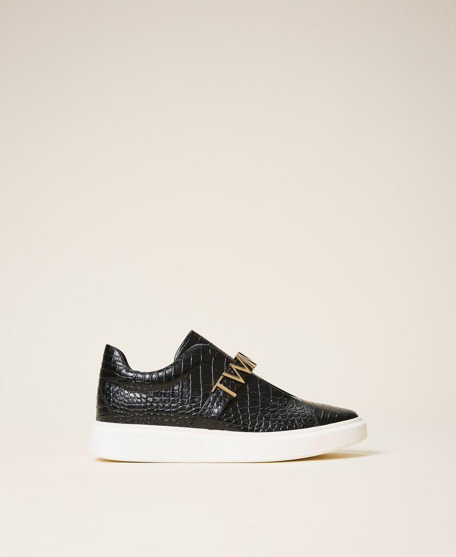 "Sneakers con logo Stampa Coccodrillo Bianco ""Neve"" Donna 202TCP034-01"