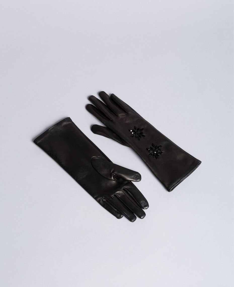 Gants longs en cuir avec strass Noir Femme OA8T5E-01