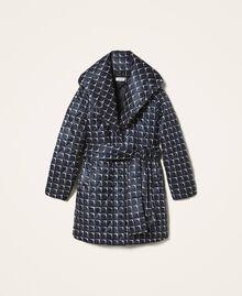 "Optical print puffer jacket Black /""Nude"" Beige Optical Print Woman 202ST2190-0S"