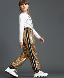 "Velvet and sequin jogging trousers ""Spelt"" Beige Child 192GJ2092-03"