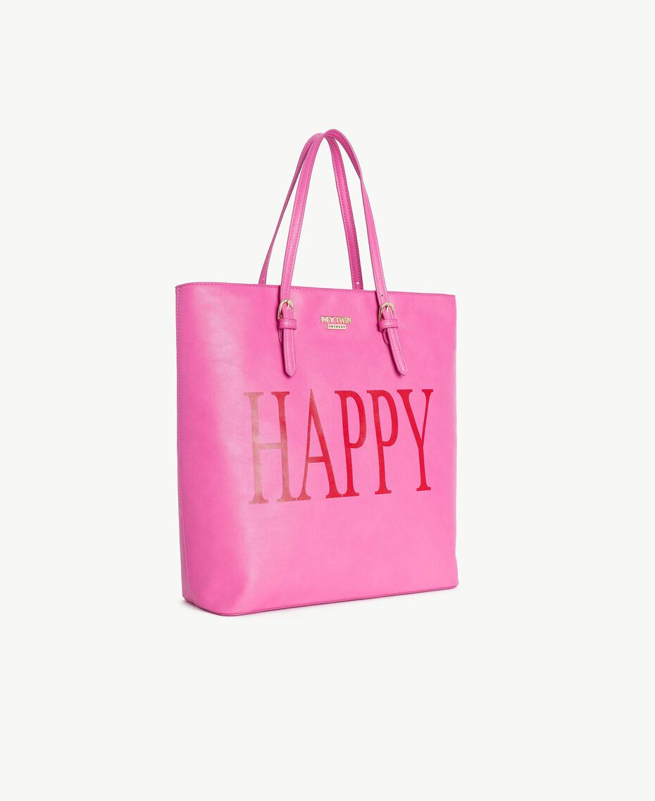 TWINSET Sac similicuir Imprimé «Happy» Soie Fuchsia Femme RS8TF2-02