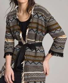 Maxi cardigan with inlay details and fringes Multicolour Neutral Grey Striping Woman 191TT3160-04