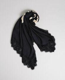 Heart print and lace kefiah Black / Vanilla MyTwin Print Woman 192MA432E-01