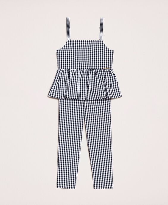 Gingham jumpsuit with flounce