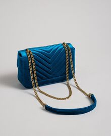 Small velvet shoulder bag Blue Caribbean Blue Woman 192TO8073-04