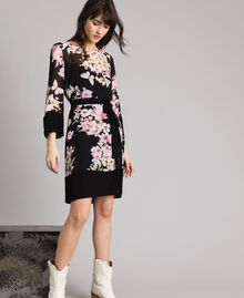 "Floral print georgette tunic dress ""Peach Flowers"" Pink Black Print Woman 191TP271B-02"