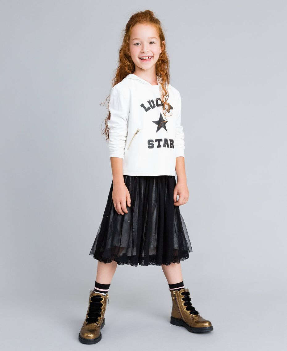 Gonna in tulle con perle Bicolor Nero / Off White Bambina GA82JE-0S