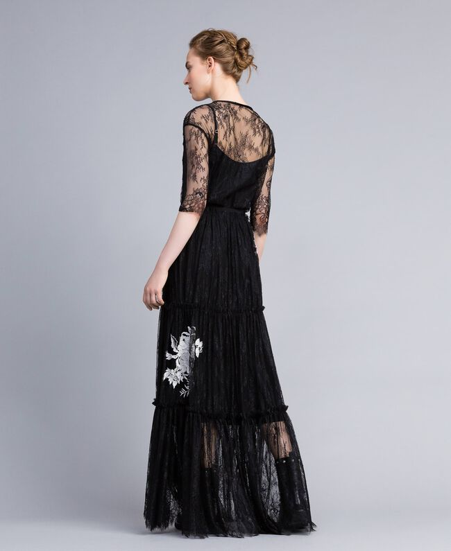 Gonna lunga in pizzo Valencienne Nero Donna PA824N-03