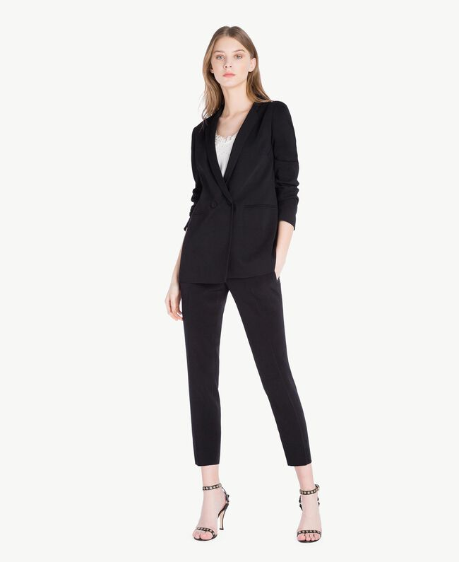 Cady drainpipe trousers Black Woman PS829B-05