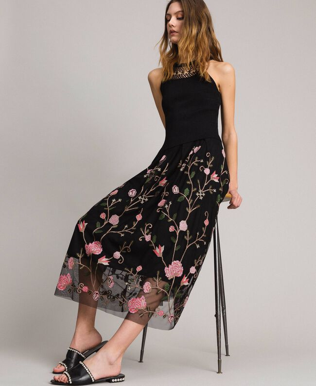 new product ea4a5 a2b95 Gonna longuette in tulle con ricami Donna, Nero | TWINSET Milano