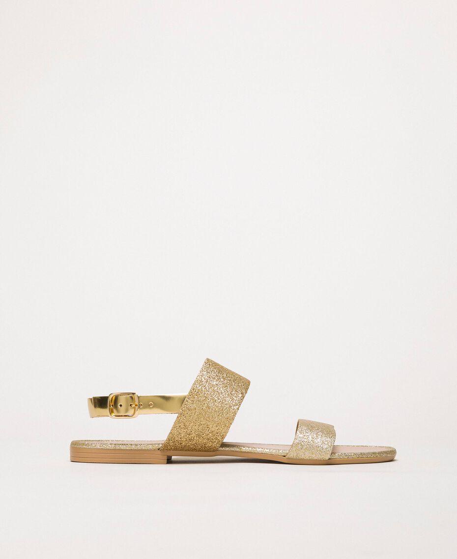 Flat sandals with glitter Glitter Platinum Gold Woman 201MCT014-03