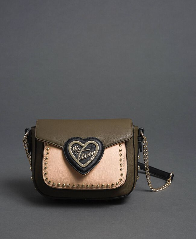 """Two-tone faux leather shoulder bag with studs """"Vetiver"""" Green / Blossom Pink Woman 192MA7103-03"""