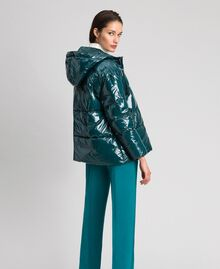Doudoune courte matelassée en plumes véritables Vert Foncé Femme 192TP2500-02