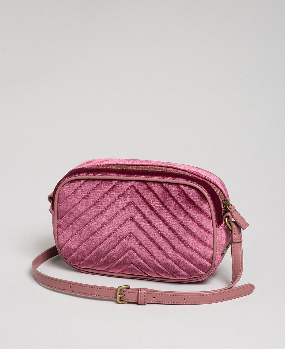Velvet shoulder bag with butterfly Dusty Pink Woman 192TA7091-03