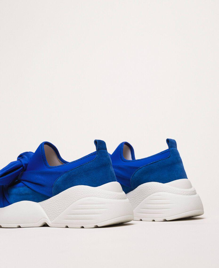 """Textilsneakers mit Knoten """"Hyazinthen""""-Blau Frau 201TCT110-03"""