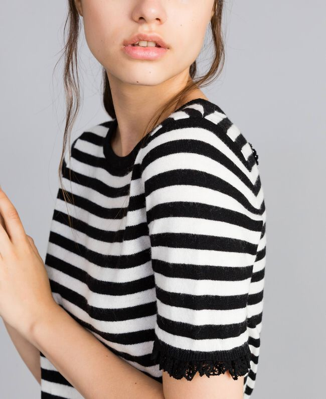 Striped cashmere blend top Black / Mother-of-pearl White Stripe Woman SA83FQ-04