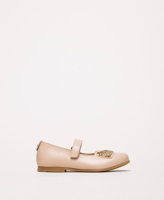 Leather ballerina shoes with heart