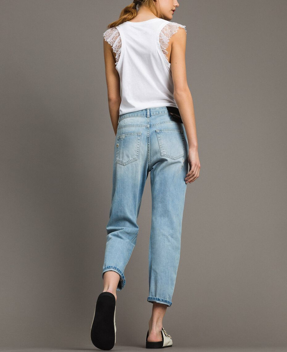 Girlfriend jeans with rhinestones and stones Denim Blue Woman 191MT2180-03