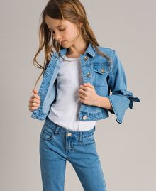 Denim jacket with bows Light Blue Denim Child 191GJ2610-05