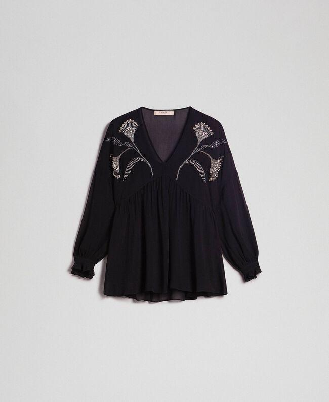 c10a9c252765 Blusa con bordado floral de strass y lentejuelas Mujer, Negro ...