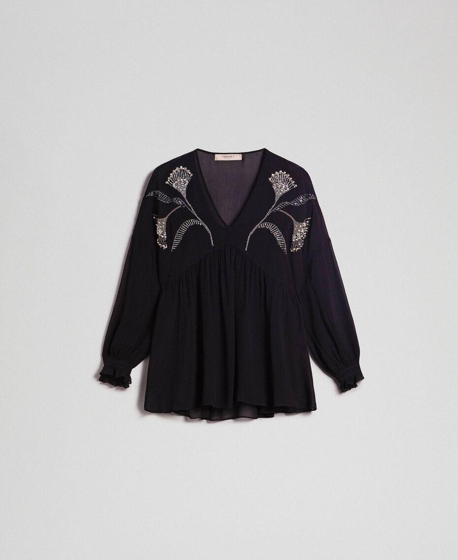Bluse mit floraler Stickerei aus Strass und Pailletten Schwarz Frau 192TP2162-0S