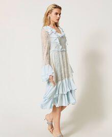 Chantilly lace dress with flounces Mousse Blue Woman 211TQ2121-03
