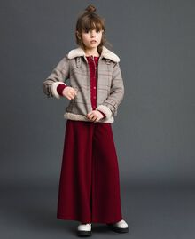 Printed faux shearling jacket Houndstooth Print Child 192GJ2300-0T