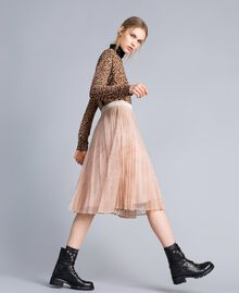 "Pleated lace skirt with lurex ""Nude"" Beige Woman SA82HH-01"
