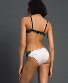 Two-tone lace briefs Ivory / Black Woman 192LL6D66-03
