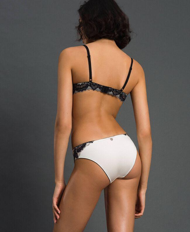 Culotte en dentelle bicolore Ivoire / Noir Femme 192LL6D66-03