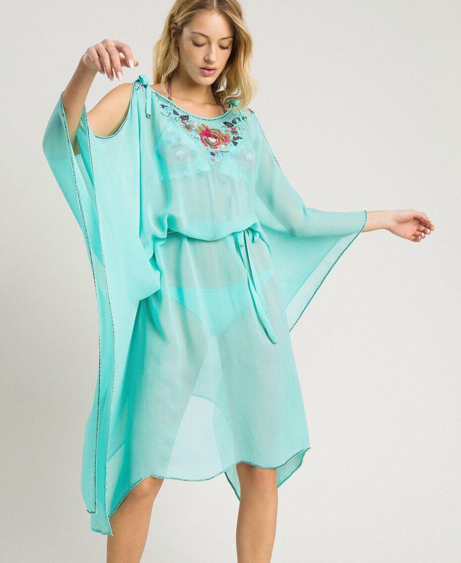 Вышитое платье-кафтан из крепона Голубой мусс женщина 191LB21AA-01